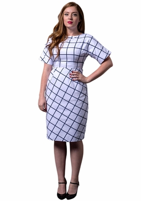 Gridlock Modest Dress in White/Navy by CARA LOREN
