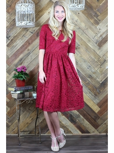 """Haley"" A-Line Modest Dress in Berry Red Lace"