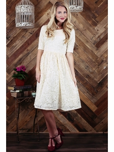 """Haley"" Modest Dress in Cream Lace"