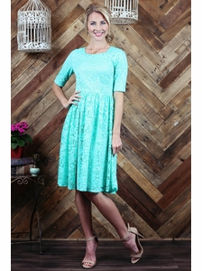 """Haley"" A-Line Modest Dress in Mint Lace"