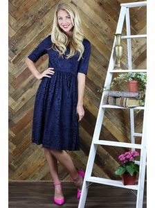 """Haley"" A-Line Modest Dress in Navy Blue Lace"
