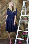 """""""Haley"""" Modest Dress in Navy Blue Lace"""