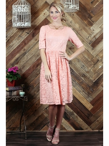 """Haley"" A-Line Modest Dress in Peachy Pink Lace"