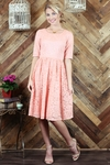 """Haley"" Modest Dress in Peachy Pink Lace"