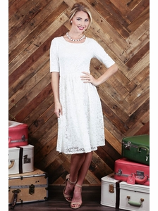 """Haley"" A-Line Modest Dress in White Lace"