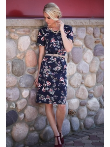 Haven Modest Dress in Navy Floral Print