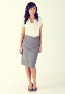 """High-Sheen"" Modest Pencil Skirt in Pewter Grey"