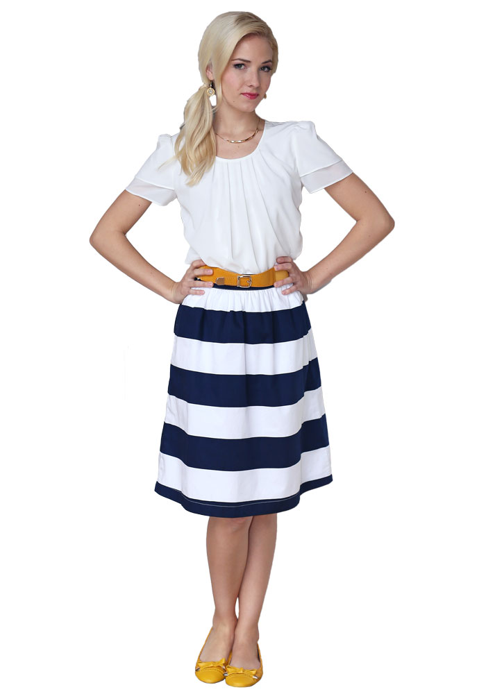 Horizontal Striped Cotton Modest Skirt in Navy & White