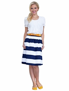"""Horizontal Striped - Cotton"" Modest Skirt in Navy & White"