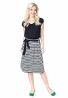 """Horizontal Striped"" Modest Skirt in Black & White"