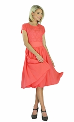 """Isabel"" Modest Dress in Coral *BACK IN STOCK*"