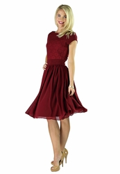 """Isabel"" Modest Dress in Deep Red *BACK IN STOCK*"