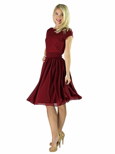 """Isabel"" Modest Dress in Deep Red"