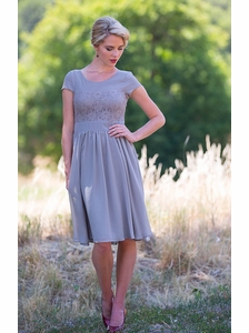 """Isabel"" Modest Dress in Light Gray *Restocked*"