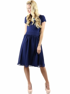 Isabel Modest Dress in Navy Blue