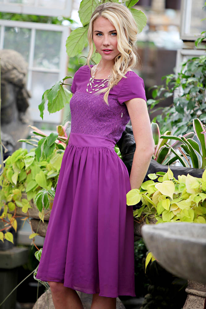 Modest Bridesmaid Dresses in Purple
