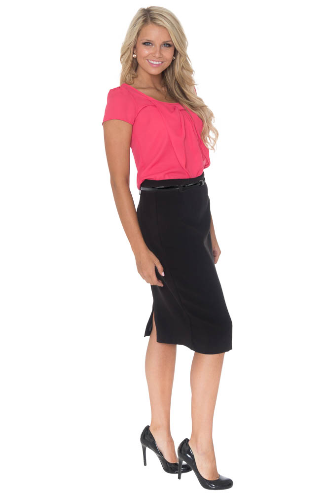 Ivy Belted Pencil Skirt in Black - Available in Regular and Long