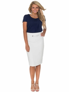 Ivy Belted Pencil Skirt in Cream (Available in Regular & Tall) *Final Sale*