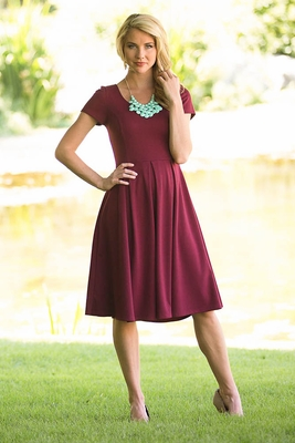 """""""Ivy"""" Modest Dress in Cranberry"""