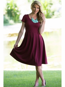 """Ivy"" Modest Dress in Cranberry"