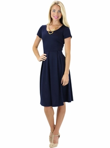 Ivy Modest Dress in Navy