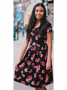 """Izzy"" Modest Young Ladies Dress in Black Floral Print"