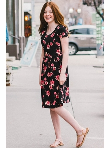 """""""Izzy"""" Modest Young Ladies Dress in Black Floral Print"""
