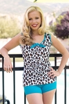 """Jane"" Modest Tankini Top in Leopard Print"