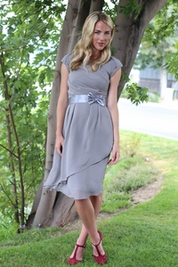 Jasmine Modest Dress in Chiffon Slate Gray