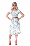 Jasmine Modest Dress in Cream Floral Print