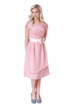 Jasmine Modest Dress in Rose Pink