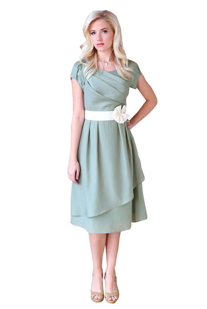 Jasmine Modest Semi-Formal Dress in Sage