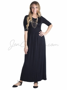 Jen Modest Maxi Dress in Black