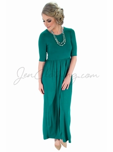 Jen Modest Maxi Dress in Deep Lake Teal
