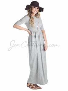 Jen Modest Maxi Dress in Heather Grey