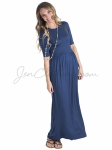 Jen Modest Maxi Dress in Navy Blue