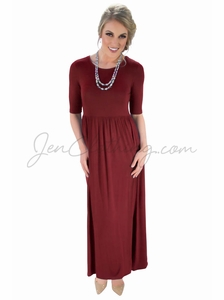 Jen Modest Maxi Dress in Red
