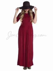 Jen Modest Maxi Dress in Deep Red