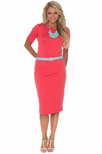 Jen Modest T-Shirt Dress in Coral