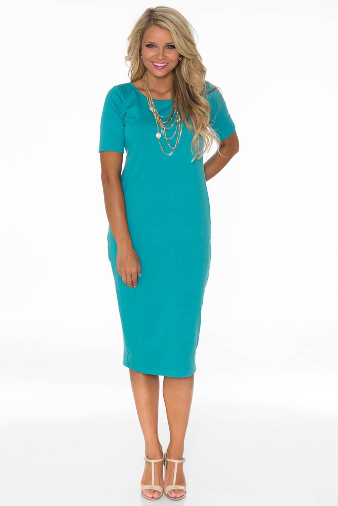 JenClothing Modest Midi-Length Fitted T-Shirt Dress in ...