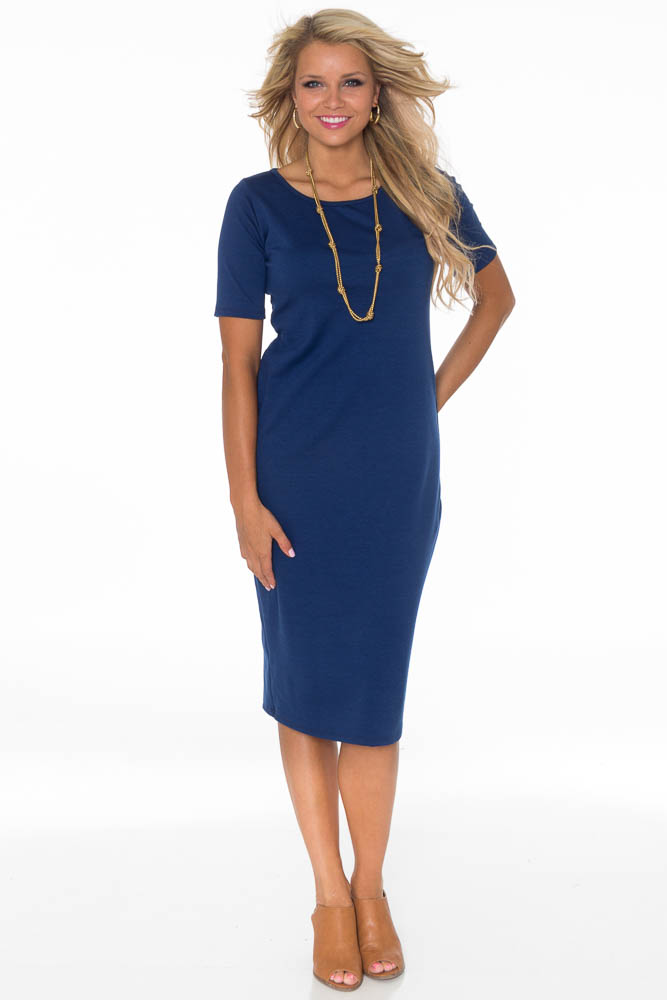 JenClothing Modest Midi-Length Fitted T-Shirt Dress in Navy Blue