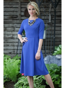 Jessica Modest Dress in Cobalt Blue