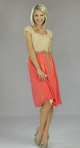 """Julia"" Modest Dress in Coral"