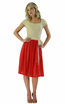 """Julia"" Modest Dress in Poppy Red"