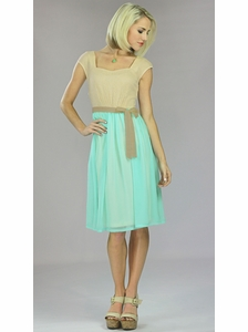 """Julia"" Modest Dress in Sea Foam"