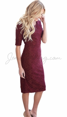 """""""June"""" Modest Dress in Burgundy Lace"""