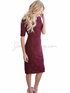"""June"" Modest Dress in Burgundy Lace"