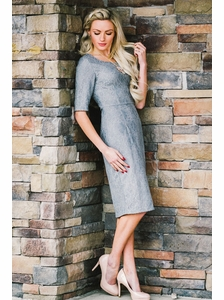 """June"" Modest Dress in Grey Lace"