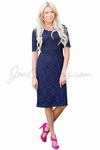 """June"" Modest Dress in Navy Blue Lace"
