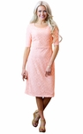 """""""June"""" Modest Dress in Peachy Pink Lace"""